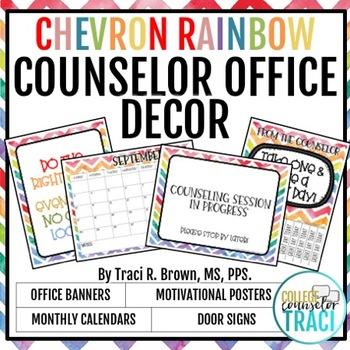 2018 - 2019 School Counselor Office Decor (Chevron Rainbow)