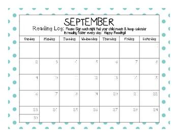 2017-2018 Reading Calendar Log (& Blank Calendar Set)