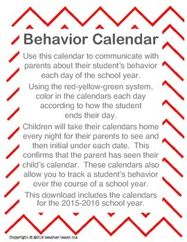 2015-2016 School Year Behavior Calendars