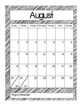 2015-2016 School Year Calendar Freebie