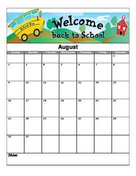 2015-2016 School Year Calendar Pack (July - June)