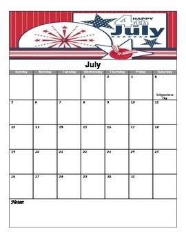2015-2016 School Year Calendar Pack (July - June)