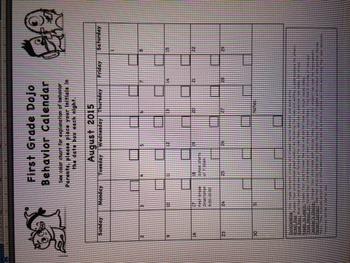 2015-2016 School Year Dojo Calendar