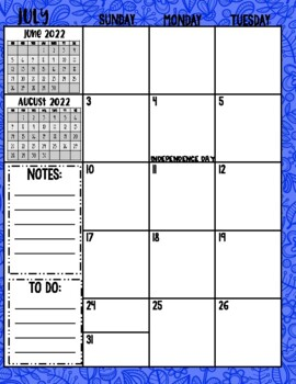 2017-2018 School Year Month on 2 Page Calendar