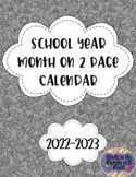 2018-2019 School Year Month on 2 Page Calendar
