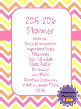 2015-2016 School Year Teacher Planner