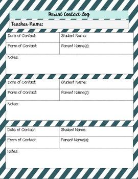 15-16 Teacher Planner + Calendar + Parent Contact Log
