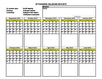 2015-2016 School Year Speech Attendance Sheet in Landscape