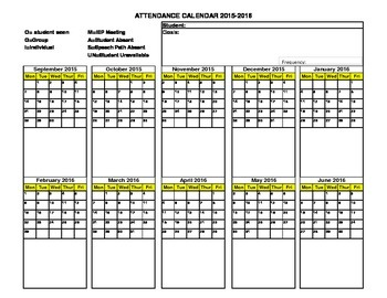 2015-2016 School Year Speech Attendance Sheet in Landscape