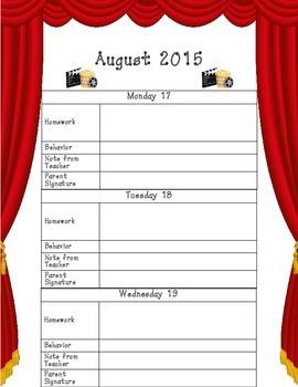 2015 - 2016 Student Planner Theatre Theme