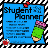 2019-2020 Editable Student Planner - FREE Updates for LIFE