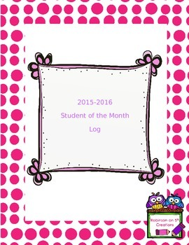 2015-2016 Student of the Month Log