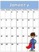 2016-2017 Super Hero Calendar Freebie-Editable Too!