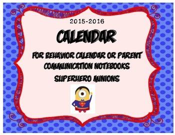2015-2016 Super Minion Calendar