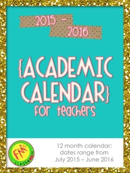 2015-2016 Teacher Academic Calendar/Planner