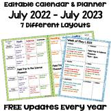Editable Calendar 2018-2019 in Blue and Green
