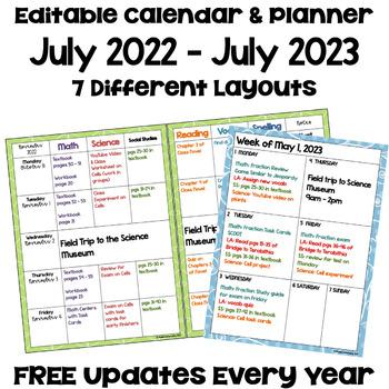 Editable Calendars 2018 2019 Teaching Resources Teachers Pay Teachers