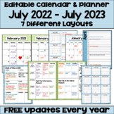 Editable Calendar 2019-2020 with FREE Updates in Blues and Greens