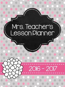 2016-2017 Teacher Planner - Grey & Light Pink polka dots *Editable*