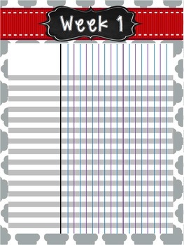 2016-2017 Teacher Planner - Grey & Red Quatrefoil *EDITABLE