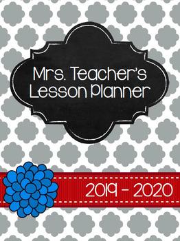 2016-2017 Teacher Planner - Grey & Red Quatrefoil *EDITABLE