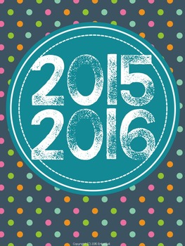 """2015-2016 Teacher Planner in """"Colorful Carnavale"""" Elementary & Secondary"""