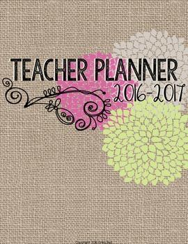"2016-2017 Editable Teacher Planner in ""Country Romance"" Elementary & Secondary"