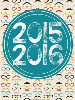 """2015-2016 Teacher Planner in """"Hipster Hottie"""" Elementary & Secondary"""