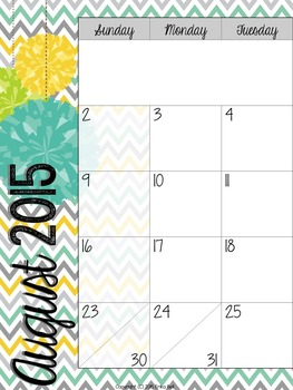 """2015-2016 Teacher Planner in """"Mellow Yellow Cool"""" Elementary & Secondary"""