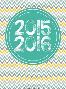 "2015-2016 Teacher Planner in ""Mellow Yellow Cool"" Elementa"