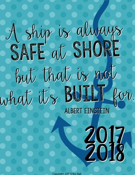 "2017-2018 Teacher Planner in ""Sail Away"" Elementary & Secondary"