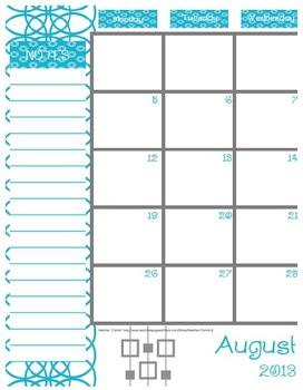 2017-2018 Teal & Gray Teacher Organizer Binder: Planner, Gradebook, Calendars +