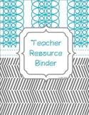 2018-2019 Teal & Gray Teacher Organizer Binder: Planner, Gradebook, Calendars +