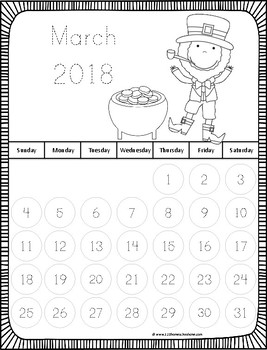 2016-2017 Trace the Number Calendars