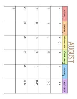 2015-2016 Year of Monthly Calendars July-June