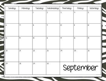 2015-2016 Zebra Print Calendar FULL YEAR