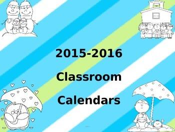2015-2016 classroom calendars