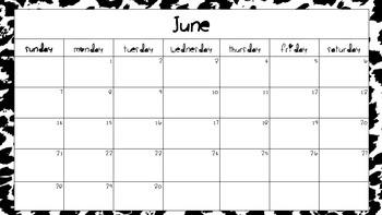 2015-2016 school calendar leopard print theme