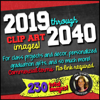 2015-2022 Year Clip Art Graphics for Commercial & Personal Use