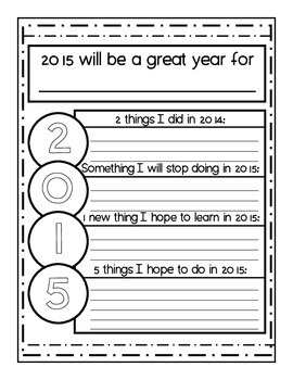 Freebie! 2015: A Short New Year's Writing Activity for Reflection & Projection