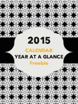 2015 Calendar - Year at a Glance {Black • Gray • Gold}