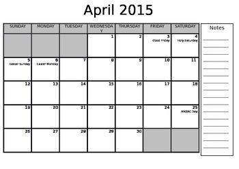 2015 Calendar Year (editable)