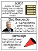 2015 Canadian Federal Election Word Wall Resource