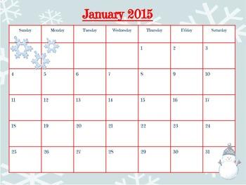 2015 FREE Printable Calendar Page- January
