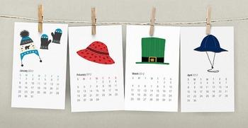 2015 French Calendar - Hats Printable Calendar - 2015 Calendrier Français