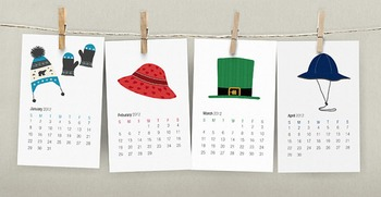 2015 French Calendar - Hats Printable Calendar - 2015 Cale