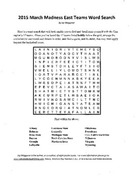 "2015 March Madness 6 Puzzle Madness,Word Searches + Powers of 2 & 3 ""Math Essay"""