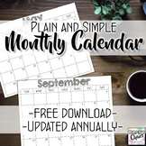 Free Monthly Calendar : Plain and Simple