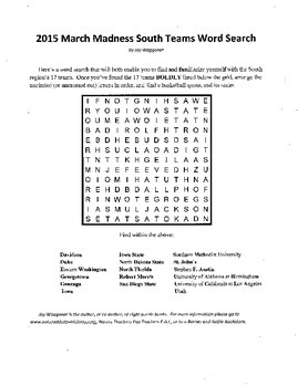 2015 NCAA March Madness South Region Word Search with a Hidden Message