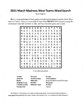 2015 NCAA March Madness West Region Word Search with a Hid